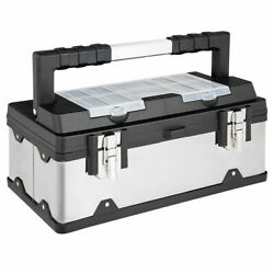 18 Inch Tool Box Stainless Steel And Plastic Portable Organizer W/ Lid Organizer