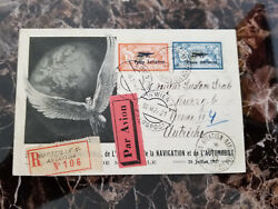 1927 Marseille France Airmail Postcard Cover To Austria Aviation Expo C1 C2