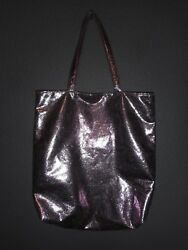 OLD NAVY SHINY PINK FAUX LEATHER SHOULDER Tote  Beach Bag EUC!
