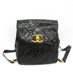 Auth Chanel Matelasse Women's Leather Backpack Black