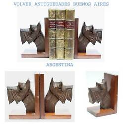 Funny old art deco wooden scottie dog scottish terrier head bookends