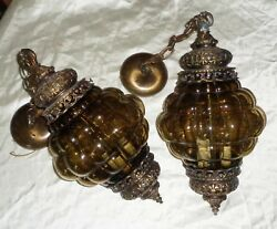 Vintage Midcentury Eagle Mfgco 3 Bulb Gothic Bubble Glass Pendent Light Fixtures