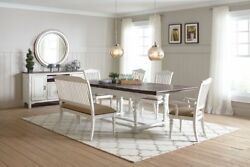 Two Tone Planked Top Rustic Country Farmhouse White Dining Table Furniture Set