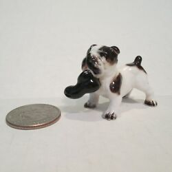 Vintage Bulldog dog  figurine shoe black white short tail ceramic