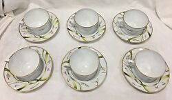 Limoges Amaryllis Tea Cups And Saucers Set Of 6 In Box
