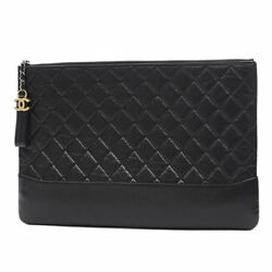 CHANEL Matrasse clutch bag leather black A 84288 Free Shipping