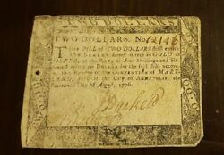 1776 Two Dollar Bill Annapolis Printed By F. Green Very Rare Revolutionary War