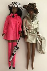 2 Nude African American Barbie Dolls 2 Outfits