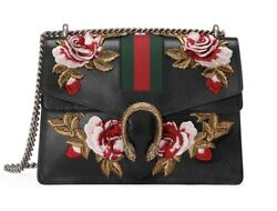 NWT AUTHENTIC GUCCI Dionysus Embroidered Rose Flower Leather Shoulder Bag Black