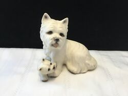 Vintage West Highland Terrier Westie Ceramic Dog with puppy figurine  (O49)