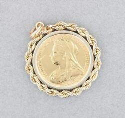 Antique Queen Victoria Old Veiled Head Sovereign Coin Pendant 1900s 14k Solid Yg
