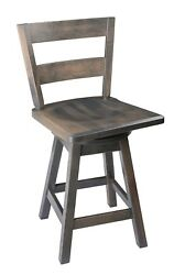 Swivel Urban Maple Wood Stool With Straight Back In Counter And Bar