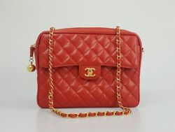 Chanel Red Quilted Caviar Leather Crossbody Shoulder Bag Camera Bag