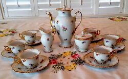 Meissen Porcelain-scattered Flowers Coffee/tea Set With Gold Swan Head Spout