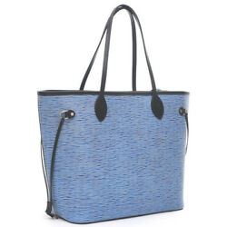 LOUIS VUITTON Epidenim Never full MM Tote Bag Blue M51053 with pouch Free ...