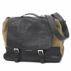 JIMMY CHOO Messenger Bag Brown  Black Suede  Leather Free Shipping