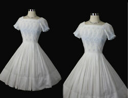 Vintage 50s 1950s Embroidered Cotton Voile Party Wedding Full Dress S