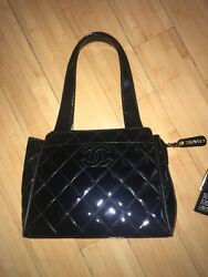 Authentic Chanel Black Quilted Patent Leather Bag