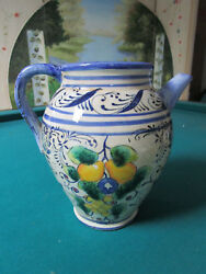 Maxcera Pottery Hand Painted Jar Urn 10 X 10 Majolica Fruits Painted