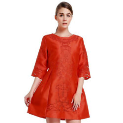 Nwt Voltiger Italy Lace Embroidered Cut Out Scalloped Asian Mini Dress Size S