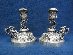 Silver Candlesticks Walking Medieval Style 19-20th C. C-scroll Pan With Flute