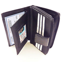 Black Fine Leather Checkbook Cover Women's French Long Clutch Organizer Wallet
