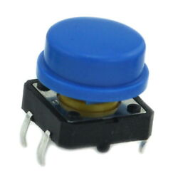 100pcs OMRON B3F-4055 Tactile Switch + A24 Blue KeyCap, 12x12x7.3mm, Momentary.