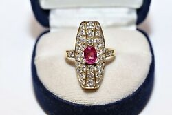 Old Russian Original 14k Gold Natural Diamond And Ruby Decorated Navette Ring