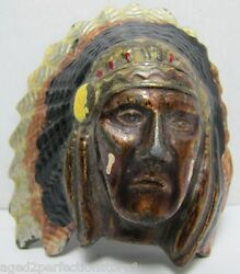 Vtg Indian Chief Belt Buckle Detailed Feather Headdress Ornate Detailing Usa