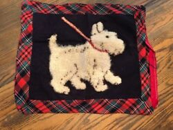 Vintage Scottie Dog Terrier Schnauzer Plaid Pillow Throw Cover Needlepoint