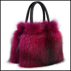 New Women's Real Fox Fur Handbag Genuine Mink Fur Leather ShoulderMessenger Bag