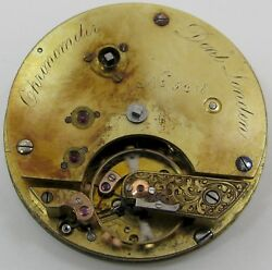 Chronometer 35218 Pocket Watch Movement Dent At London, Jeweled Chain Fusee