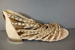 39.5 Beige Suede Gladiator Gold Woven Chains Sandals Flats Shoes New