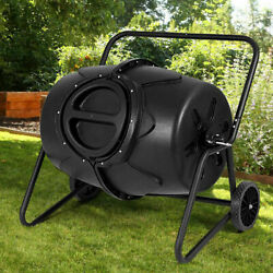 50 Gallon Wheeled Compost Tumbler Garden Waste Bin Grass Trash Barrel Fertilizer