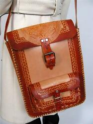 LEATHER HAND TOOLED X-LARGE CROSS BODY MESSENGER AZTEC SUN TOTE BACKPACK PURSE