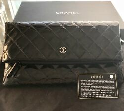 Authentic CHANEL Black Quilted Fold-Over Patent Leather Clutch