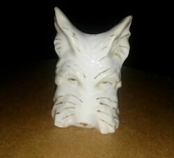 Vintage Porcelain Scottie Scottish Terrier Dog Wall Pocket White Gold Japan