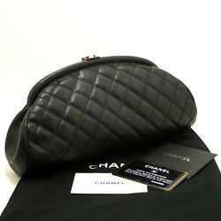 CHANEL Authentic Caviar Timeless Clutch Bag Black Quilted Silver Hardware k01