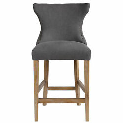 Classic Exposed Wood Dark Gray 41 Counter Bar Stool | Curved Wing Back Cushion
