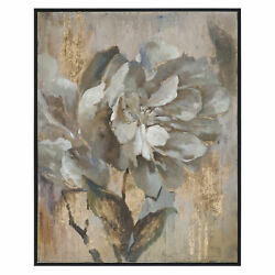 White Gold Floral Peony Painting | Oversize 51 Wall Art Artwork Flower Black