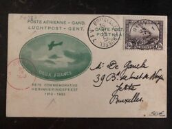 1933 Brussels Belgium First Day Postcard Airmail Cover Fdc To Gent