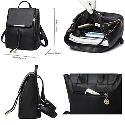 Fashion Shoulder Bag Rucksack PU Leather For Women Girls Ladies Backpack Black