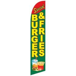 Special Burgers Fries Banner Flag And Pole Windless Feather 2.5 Wide Swooper