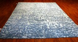 8and039x10and039 Contemporary Rug - Hand Knotted Banana Silk And Wool Blend Made In India