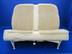 Cessna 177b Seat Assy Rear Cream Leather And Sheepskin P/n 1714098-9 0818-191