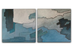 Original art Set of 2 abstract paintings Blue Gray abstract Large canvas Art