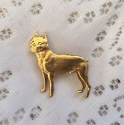 VINTAGE BOSTON TERRIER PIN MADE IN ENGLAND GOLD TONE
