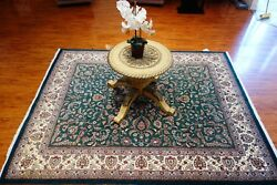 8' X 10' Hand Knotted Persian Kashan Design Rug Made In India, 100 Wool Pile