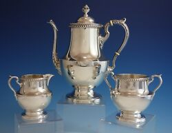 Georgian By Poole Sterling Silver Tea Set 3pc With Gadroon Border 1027 2870