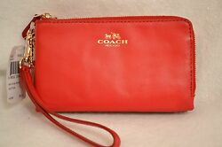 NWT Coach Smooth Leather Double Zip  Wristlet Wallet  Classic Red  Gold F64581